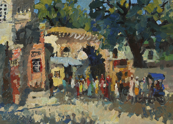 painting, landscape, realism, other countries, India, Vrindavan