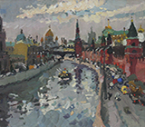 Moscow, winter, Russia, painting, sityscape, realism